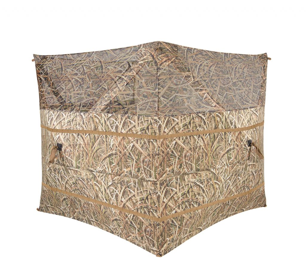 Some lightweight blinds are designed to go up quickly and have exterior straps that allow them to be camouflaged with native grass.